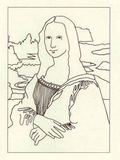 Art binder on pinterest coloring pages superhero for Mona lisa coloring pages