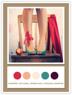 Colour Palette: raspberry, pink coral, creamy blush, turquoise, aubergine