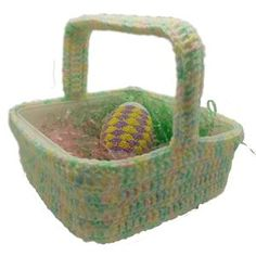 $1.99 - Simple Square Easter Basket - A Crochet pattern from jpfun.com