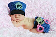 Crochet Baby Police Man Hat and Diaper by handmadebychhunneang, $48.95