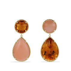 chatelain earring, peach moonston