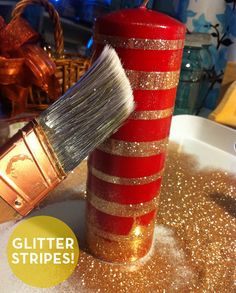 Cover candle with double sided tape and brush with glitter. Love this idea.