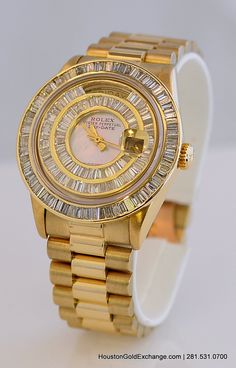 18K Rolex Day Date President with 8.00ctw in Baguette Diamonds, Mother of Pearl Dial. Two rows of Diamonds are under the crystal. Single Quick-set Model.  Houston, Texas