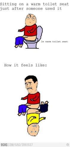 Sitting on a warm toilet seat