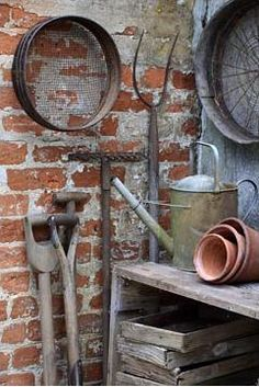 brick wall, garden gates, garden benches, gardening tools, garden art wall, garden textur, old garden tools