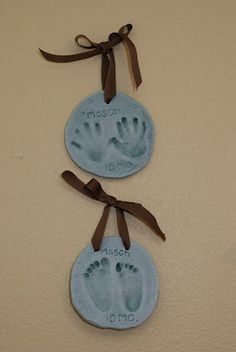 Salt dough handprints and footprints