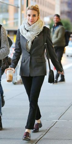 Emma Roberts in a mens inspired outfit, wearing a J.Crew Regent Blazer, Jimmy Choo brogues, and J Brand jeans.