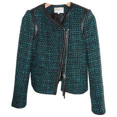 (7) Veste tweed SANDRO Vert taille 36 FR en Autre Toutes saisons - 591200