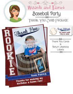 Vintage Baseball Thank You Cards & Return Address Labels...Print from Home or Order Professionally Printed.  #baseballinvitation #party #baseballpartydiy #softballinvitation #softballthankyoucard #softballfavor
