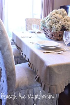 Beneath the Magnolias: How to Make a Burlap Slipcover Tablecloth
