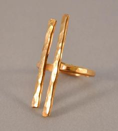 Hammered Gold Couplet Ring  by Ilsa Loves Rick