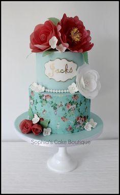 Vintage Flora paint cake, paper floral, wafer paper, eat cake