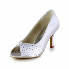 "White Dyeable Chic 3"" Sequins & Peep-toe - Satin Bridal shoes (11 colors)"