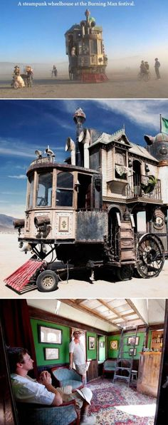 A steampunk wheelhouse at the Burning Man Festival.