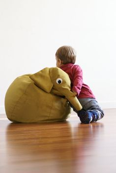 Yellow Elephant bean bag by ilSaccotto on Etsy, €169.00