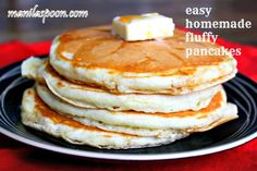 Good morning! Easy Homemade Fluffy Pancakes - here it is. No need to buy the mix when you can make it look like this! Have a happy breakfast!