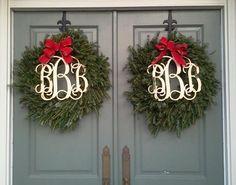 paired monogram wreaths