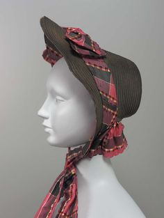 Bonnet, 1855, Made of silk and straw