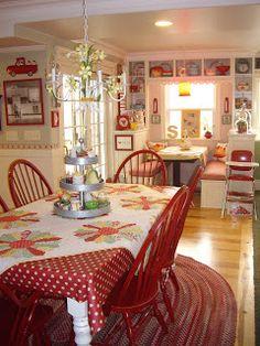 decor, red kitchen, breakfast nooks, color, farm kitchens, kitchen chairs, country kitchens, cottage kitchens, dream kitchens