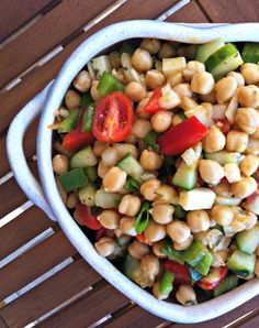 Mediterranean Chickpea Salad--a healthy salad packed with chickpeas, cheese, veggies and a light dressing