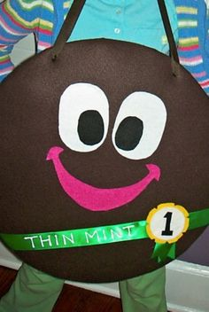 Thin Mint costume for cookie sales (felt, foam core and grosgrain ribbon)