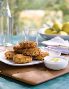 Salmon Cakes with Lemon-Caper Yogurt Sauce from Giada De Laurentiis