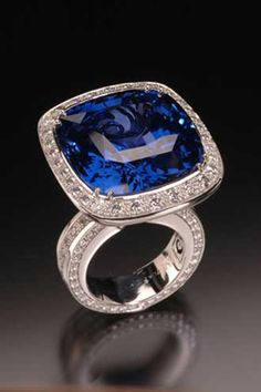 Sapphire ring. This platinum ring has a 62-carat center sapphire surrounded by 4.39 carats of pavé diamonds.
