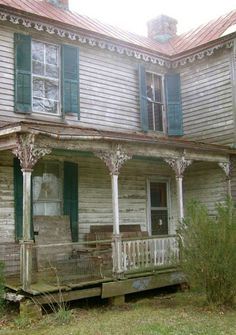 Old Farm House Porch...love the detail along the porch posts