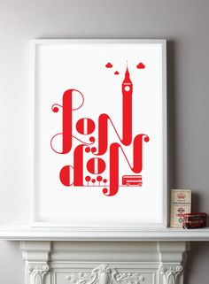 London print from The Shop at Number 57 - Playful print combining iconic London elemets - yes please I'd like one of these!