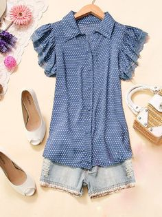 Blue Polkadot Blouse with Lace Trim Sleeves by JewelsandClothes, $29.50