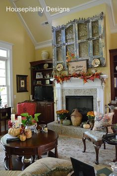 ...love the iron and wooden gate over the mantle