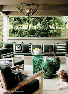 coffee tables, garden stools, beach decor, garden seats, patio, newport beach, outdoor spaces, porch, shades of green