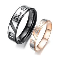 "Stainless Steel Cz Gem 18k Plated ""True Love"" Engraved Couple Rings Set for Engagement, Promise, Eternity R010 (His Size 7, 8, 9, 10; Her Size 5, 6, 7, 8). Please Email Sizes: Jewelry: Amazon.com"