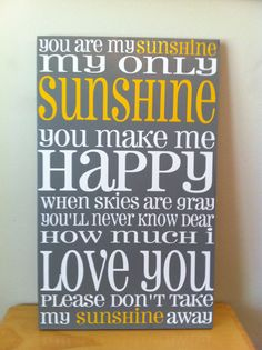 Customized You Are My Sunshine Subway Art Board by WordsByWilson, $38.00