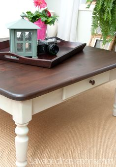 Salvaged Inspirations | General Finishes Java Stained Table w Homemade Chalk Finish Bottom