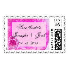 Pink Carnation Save the Date Wedding Postage
