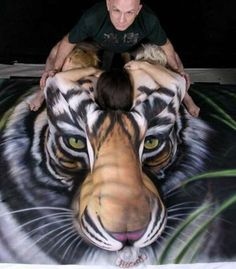 Optical Illusion Body Painting - Creative Paint Job Turns Three People Into the Image of a Tiger (GALLERY)