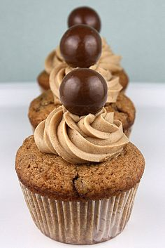 Malted Milk Cupcakes; I'm thinking spice cake cupcakes with cinnamon frosting
