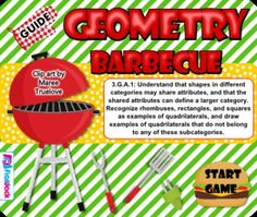 Geometry Barbecue SMART BOARD Game - Common Core Aligned - This SMART BOARD game poses questions for students that focus primarily on quadrilaterals and their defining characteristics.. This self-checking Smart Board game is based on the 3rd grade common core standard 3.G.A.1. $