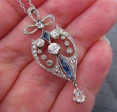 Antique Edwardian Platinum Diamond Sapphire Lavaliere Necklace