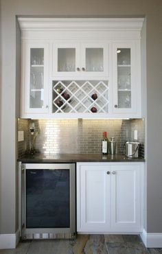 For the small space in the kitchen - metallic subway tile!