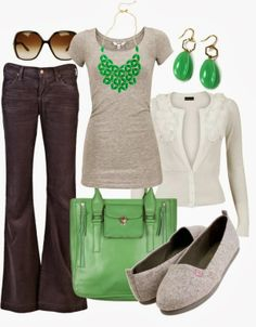 Spring Outfits Green & Grey