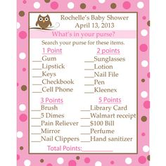 24 Personalized Baby Shower Game Cards - What's in Your Purse - Pink Baby Owl