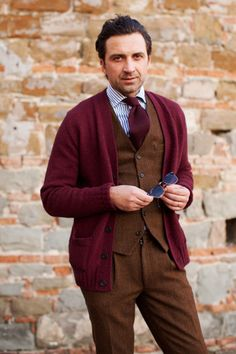 Suit with cardigan.