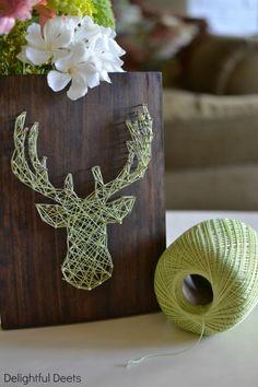 Cool lime green threaded stag silhouette on wooden planter / deco box decor, woodland nursery, idea, crafti, moose, nail arts, deer heads, diy wall art, string art