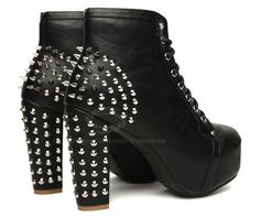 Black Gothic Silver Spike Punk Rock High Heel Boots-Ankle Boots & Shoes