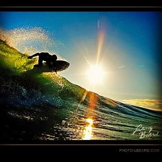 """""""Into the Sun""""  This was an epic evening session last fall. Fall produces some offshore conditions the are perfect for the evening light. Mike M. surfing into the sun.   Follow and share if you like """"Into the Sun""""  Mahalo.."""