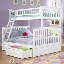 Girls bunk bed ideas on pinterest 56 pins for Bunk bed with double on bottom