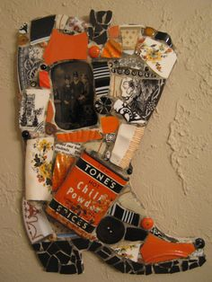 TROUBLE mosaic cowboy/cowgirl boot with tintype and Tones chili powder tin in orange and black mosaic art