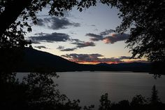 Sunset over Whiskeytown Lake with the Trinity Alps in the background